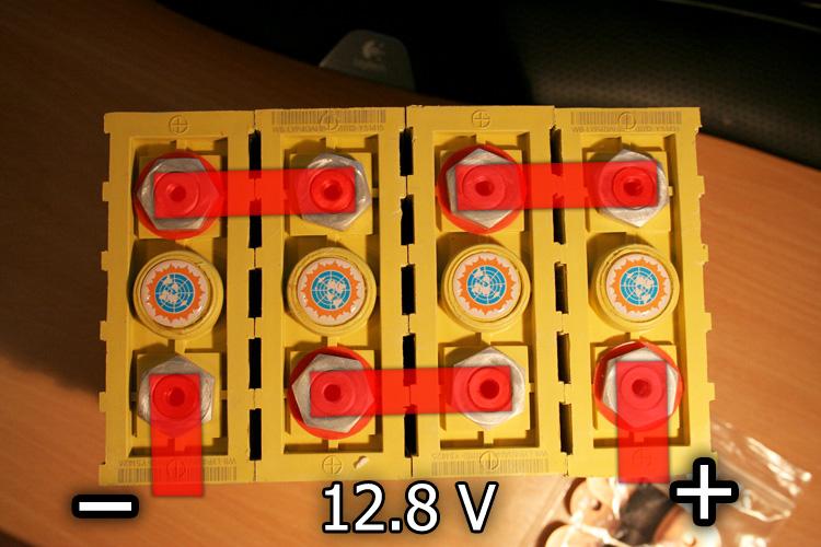 Schematické znázornění - články v serii vytvoří 12V akumulátor