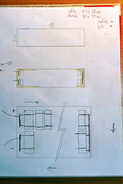 Nákres rozložení a zapojení panelu - originál
